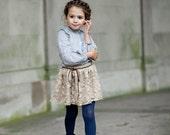 Girls Skirt w/ Leather Belt Twirl skirt Cute Skirt Custom Clothes