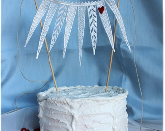 Cake banner in white appliqued flags, twine ties and pick your color, heart accent