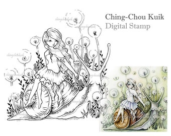 Dandelion Field - Digital Stamp Instant Download / Fantasy Art by Ching-Chou Kuik