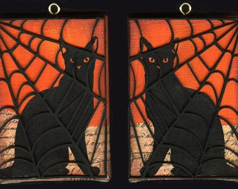 Black Cat Halloween Diptych