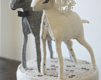 doe and deer wedding cake topper- made to order
