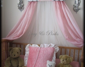 Chevron Monogram Embroidered GRAY Pink Personalized Princess Crown Canopy Bed FREE SaLe