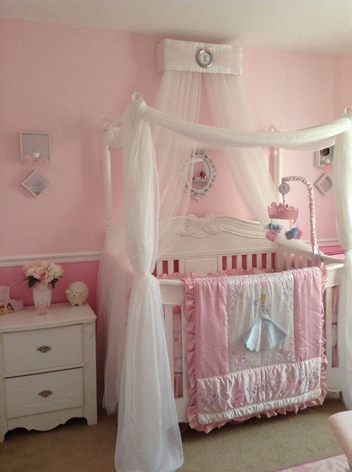 Princess crown pink bedroom canopy free monogram upholstered for Nursery crown canopy