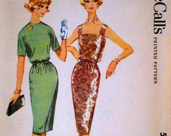Vintage 1950s Cocktail Dress Pattern McCall's 5240 Bust 34 Factory Folded Blouson Dress Pattern