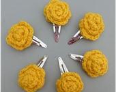 Rose Hair Clips Three Matching Pairs Crochet Golden Yellow