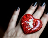 Novelty Ring, One of a Kind Unicorn, Resin Glitter Heart, Handmade Unicorn, Red Glitter Heart, Cute Kawaii Resin Glitter Jewelry, isewcute
