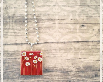 Daisy Necklace, Scrabble Tile Necklace, Daisies Red, Scrabble Jewelry Pendant, Game Piece Necklace, Cute Necklace Pendant