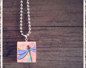 Scrabble Tile Art Pendant - I Love You Dragonfly - Scrabble Jewelry Charm