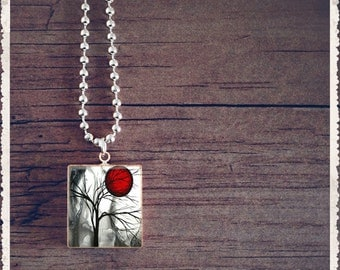 Tree Necklace, Initial Necklacce, Scrabble Tile Necklace, Tree Pendant, Scrabble Jewelry, Tree Jewelry, Tree Lover Gift, Customized