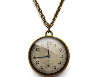 Vintage Clock Necklace (ER06)