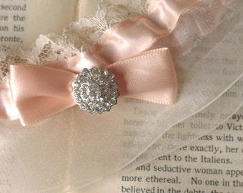 Les Etoiles | Blush Satin Bridal Garter, Ivory Lace and Organza, Art Deco Rhinestone, Satin Bow, Handmade Wedding