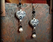 tribal pattern heart earrings with swarovski pearls and crystals, black and ivory