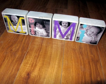 Mother's Day GIFT Personalized for MIMI- Personalized Photo Blocks- set of 4 Letter Blocks