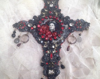Lilygrace Gothic Frida Kahlo Cross with Vintage Rhinestones, Freshwater pearls and Vintage German Glass Jewels