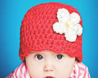 Baby Girl Hat 0 to 3 Month Red Baby Hat Baby Girl Clothes Baby Girl Beanie Crochet Flower Hat White Daisy Flower Spring Photo Prop Flapper