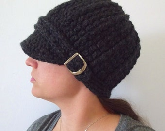 Womens Hat Womens Beanie Womens Cap Charcoal Gray Hat Charcoal Hat Crochet Hat Knit like Silver Buckle Beanie Trendy Winter Hat Knit Beanie