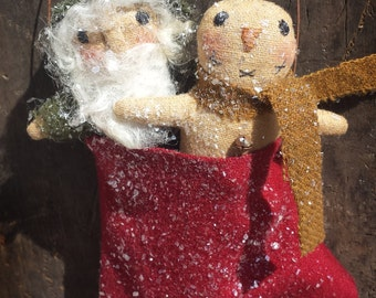 Instant Download Itty Bitty Primitive Santa & Snowman Mitten Ornies Epattern