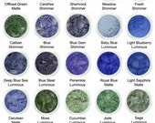 Blues, Greens Eye shadow.  5gm A zero rating on the Comedogenicity scale.