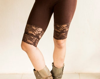 LONG ORGANIC KNICKERS - Perfect under skirts and dresses - Shorts Hot pants - Lace Underwear Hippie Boho - Brown