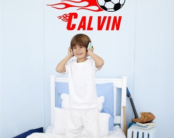 Soccer Wall Decal with Athletic Font Personalized Name