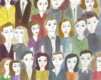 original illustration - The Crowd.  Original watercolor painting by Vivienne Strauss.