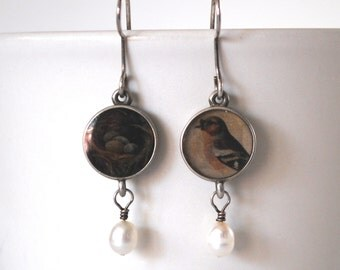 dangle earrings bird and nest silver resin pearl dangling earring pair 1990s nature jewelry gift