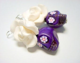 White and Purple Day of the Dead Roses and Sugar Skull Earrings Large