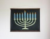 Chalkboard Menorah // Hanukkah Decor // Chanukah Decoration // Flameless // Children's Menorah // Modern Menorah // Personalized