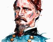 Watercolor painting-portrait of Union Civil War General Winfield Scott Hancock