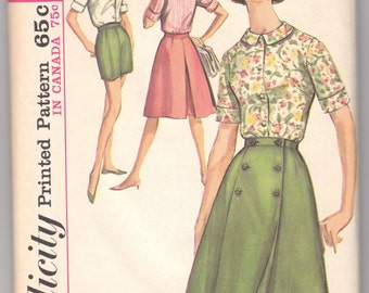 "1960's Vintage Sewing Pattern Ladies' Blouse and Skirt Simplicity 5492 35"" Bust - Free Pattern Grading E-book Included"