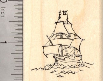 Galleon Rubber Stamp, Sailing Ship, Pirate, Merchant, or War G23205 Wood Mounted