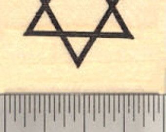 Star of David Rubber Stamp A13310 Wood Mounted