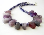 Purple Agate Stone Necklace Lobster Clasp Adjustable Length