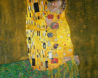 The Kiss - Gustav Klimt hand-painted oil painting, Lovers Embrace Art,couples embracing artwork,Living Room large wall art, Anniversary Gift