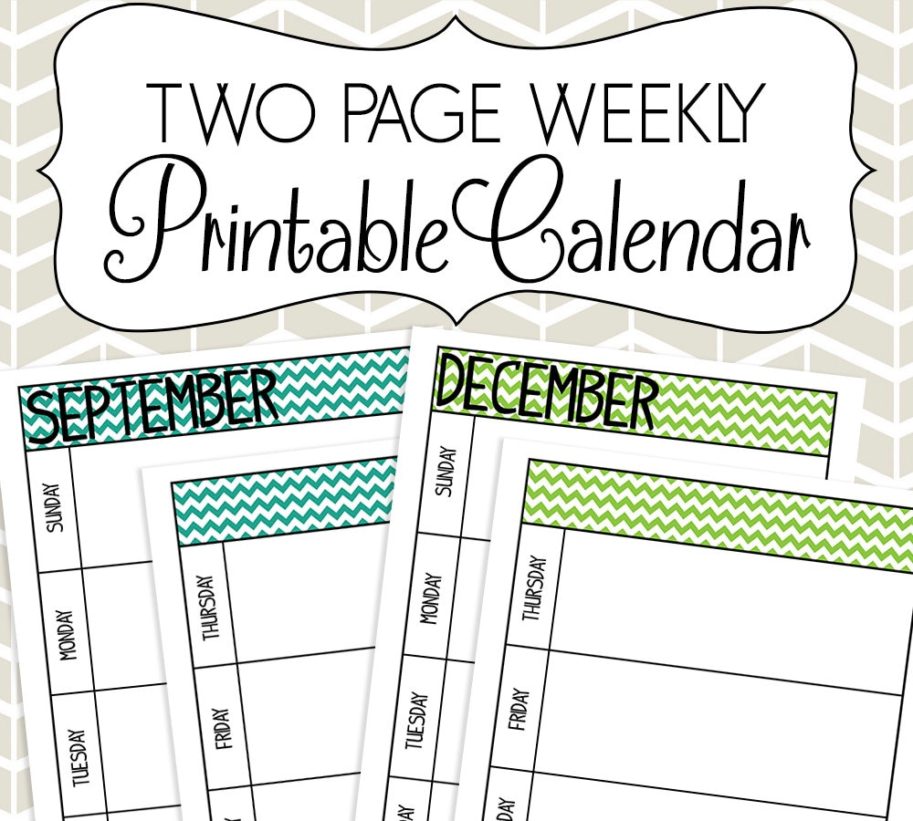 Undated Weekly Calendar : Undated two page weekly calendar printable colorful chevron
