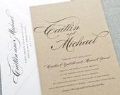 Caitlin Script Recycled Kraft Wedding Invitation Sample - Rustic Recycled Wedding Invitation