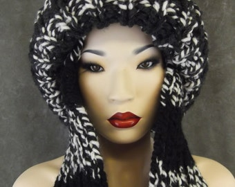 Grey and Black Tweed Toboggan/ Double Thickness/Ski Hat/One Size Fits Most/Ready to Ship