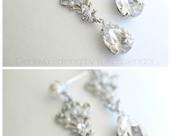 Wedding Earrings Swarovski Crystal Teardrop Bridal Earrings Simple Wedding Jewelry GENEVA