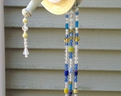 Double dish recycled glass wind chime, with silverware chimes,blue and yellow