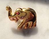 Vintage Elephant pin and pendant with red crystal eye High end Spanish costume jewelry