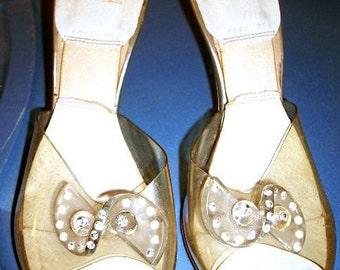 Vintage Springolator Shoes, Heels, Pumps, Vintage 50s, Rhinestones and Lucite