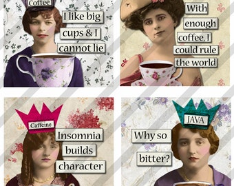 Funny Collage Sheet ,Coffee Caffeine Ladies, 1.5 X1.5 AND 2 X 2  inch Charms, Printable (Sheet no. FS212) Instant Download