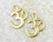 4+ Om Pendant TierraCast Om Gold Pendant Meditation Mindfulness Aum Pendant 22mm x 17mm Zen Charm for Yoga Jewelry Eastern Buddhist  (P772G)