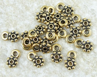 Loop Heishi Beads - Antique Gold 5mm Beaded w/ Loop Spacer Bead Charm Bracelet Bails - TierraCast (PS191)