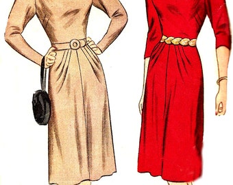 1940s Dress Pattern Simplicity Vintage Keyhole Neckline Sewing Unprinted Women's Misses Size 14 Bust 32 Inches
