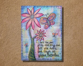 Shakespeare Quote Cordelia's Butterflies Original Mixed Media Watercolor and Acrylic Painting