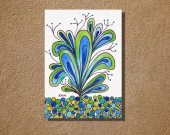 "Happy Plant in Blue and Green Watercolor and Ink Painting Drawing 5"" x 7""  Wall Art"