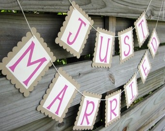 Just Married Banner in Bubblegum Pink and Kraft Brown - Wedding Decoration and Photo Prop