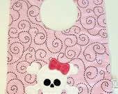 Girlie Skulls and Cross Bones Pink Baby Bib Emroidered 6-12 months