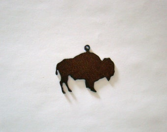 Buffalo Recycled Metal Pendant Cutout